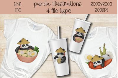 Bundle Sublimation cute panda.Kawaii illustration.Bear sub