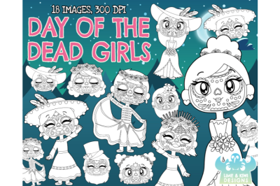 Day of the Dead Girls  Digital Stamps - Lime and Kiwi Designs