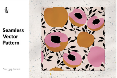 Fresh peaches seamless pattern