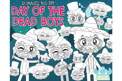 Day of the Dead Boys Digital Stamps  - Lime and Kiwi Designs