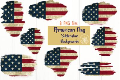 8 American Flag Sublimation Backgrounds