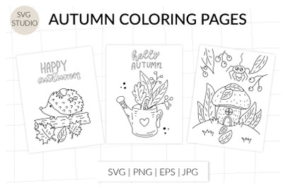Autumn coloring page. Autumn fall, autumn forest