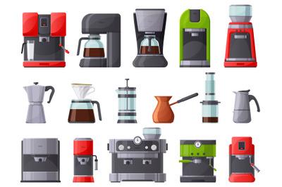 Coffee machines, coffee maker, espresso machine and coffee pot. French