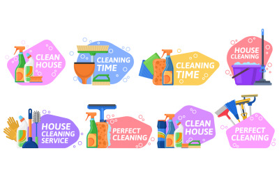 House cleaning services, household equipment emblems. Housekeeping sup