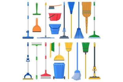 Household cleaning mops, broom, sweeps, scoops and plastic buckets. Cl