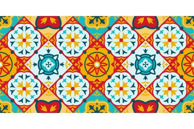 Talavera, azulejo mosaic porcelain ceramic tile seamless pattern. Deco