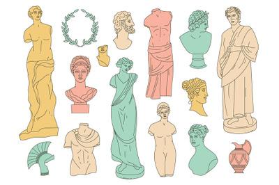 Ancient greek gods antique statues and antique sculptures. Antique god