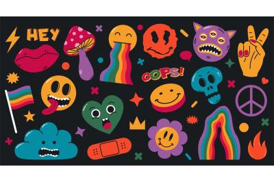 Cartoon abstract groovy comic funny emoji characters. Cute comic doodl