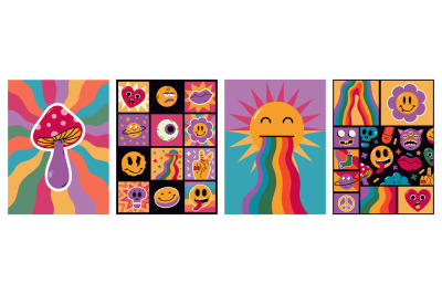 Cartoon abstract funny comic surreal patches posters. Trendy comic ret