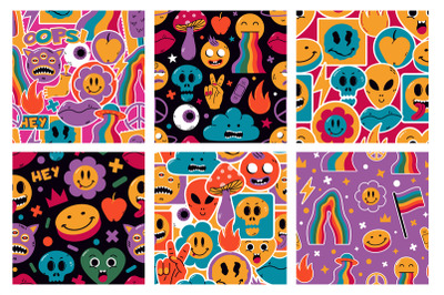 Funny cute comic stickers characters abstract seamless patterns. Carto