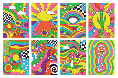 Groovy retro vibes, 70s hippie style psychedelic art posters. Abstract