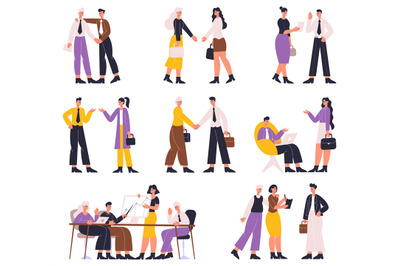 Business people negotiating, discussing, professional communication, b
