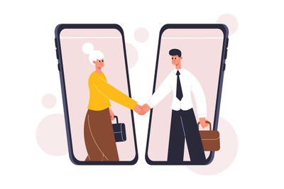 Online business negotiating, deal concluding, agreement concept. Busin