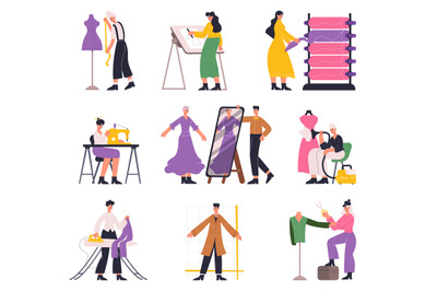 Tailors, fashion designers, atelier seamstress and dressmaker characte