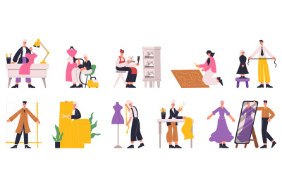 Dressmaker sewing, designer tailoring, characters working in clothes i