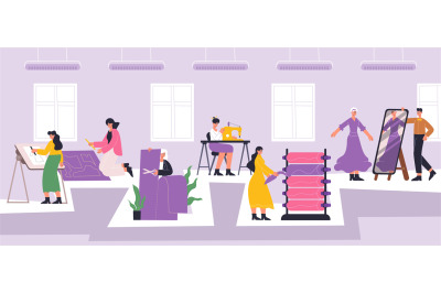 Fashion atelier workers, sewing, dressmaking workshop interior. Textil
