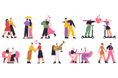 Romantic couples, happy man and woman dating, walking, hugging. Couple