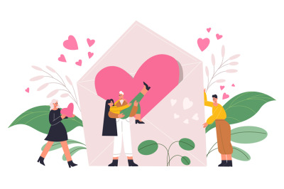 Romantic people, couple in love with giant heart, valentines day conce