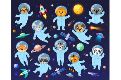 Cartoon space cosmonaut animals, cute animal astronauts. Galaxy space