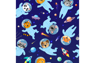 Cartoon space animals cosmonauts, astronauts seamless pattern. Cute sp