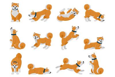 Cartoon akita dog daily routine, puppy pet walking, sleeping and howli