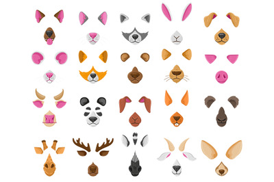 Cartoon selfie or video chat animal faces masks. Cute animals video ch