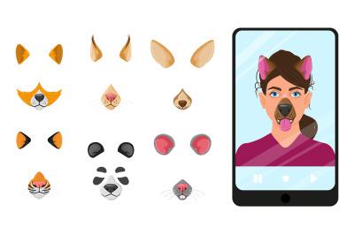 Cartoon animal faces masks for selfie, video chat mobile app. Selfie f