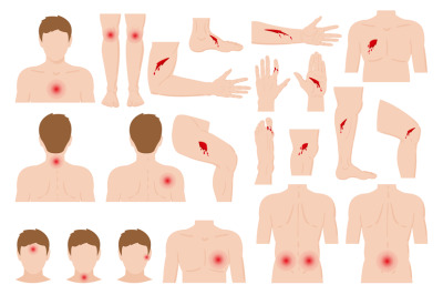 Cartoon physical injured hurt human body parts. Body pain, physical in
