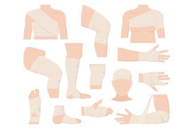 Cartoon physical injured body parts in bandage applications. Bandaged