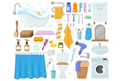 Cartoon bathroom elements, bathtub, sink, shower, towels and soap. Bat