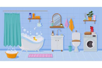 Cartoon apartment bathroom interior, bathtub and sink. Toilet, washing