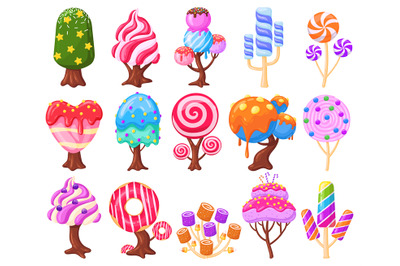 Cartoon fantasy sweet candy land caramel trees. Fantasy nature, game d