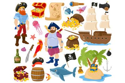Cartoon pirates, sea fish, treasure chest, marine ship. Pirate sailor