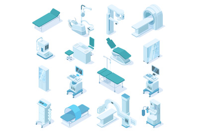 Isometric medical diagnostic, hospital health care equipment. Medical