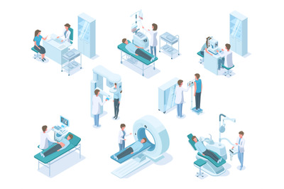 Isometric doctors and patients with hospital medical diagnostic equipm
