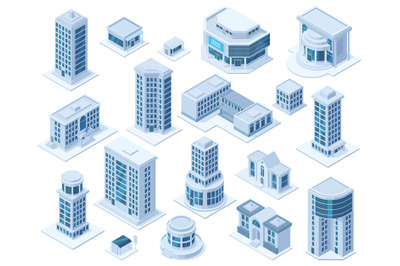 Isometric urban city downtown district architecture buildings. Skyscra