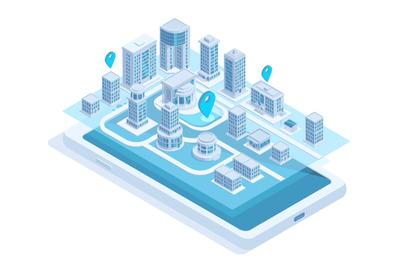 Isometric city map mobile navigation on smartphone screen. Modern smar