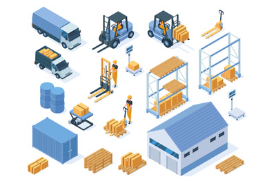 Isometric warehouse storage delivery logistic services elements. Wareh