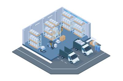 Isometric storage building, modern warehouse interior. Storage forklif