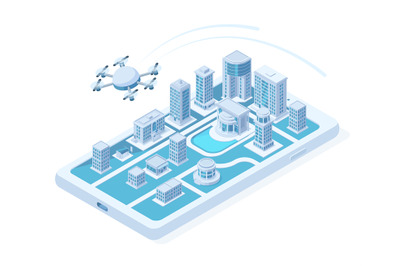 Isometric drone aerial delivery, quadcopter digital innovation concept