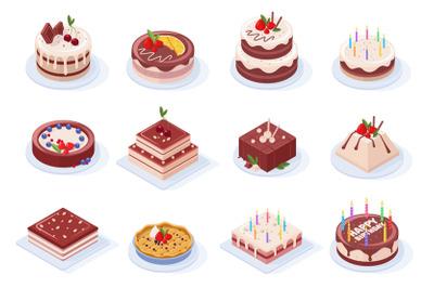 Isometric birthday party delicious chocolate glaze cakes. Chocolate, s
