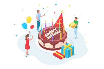 Isometric happy birthday party people celebration concept. Characters