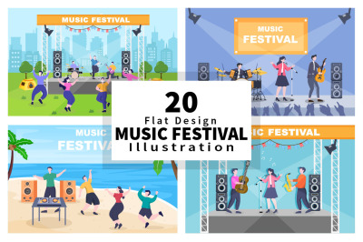 20 Music Festival Live Singing Performance Vector Illustration