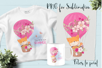 Cute Fox sublimation. Design for printing.