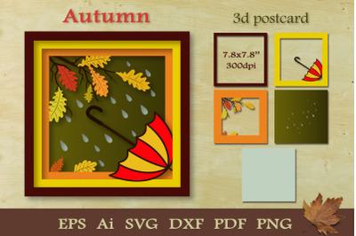 3D postcard Autumn. Paper cut SVG