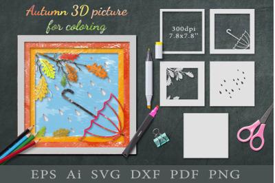 Autumn 3D picture for coloring. Paper cut SVG