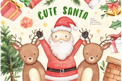 Cute Santa Christmas Watercolor Set