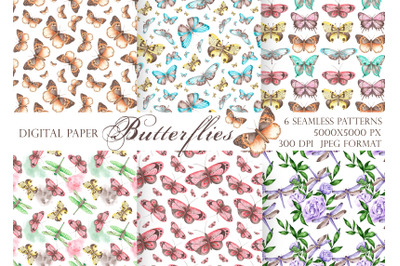 Butterfly seamless pattern, digital paper. Watercolor insect dragonfly