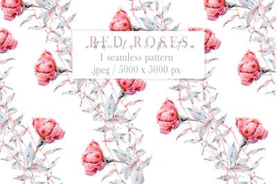Watercolor floral seamless pattern. Flower digital paper