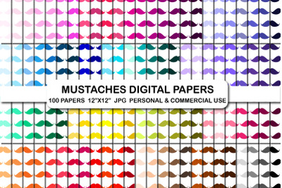 100 Mustache Pattern Digital Papers Mustaches Background